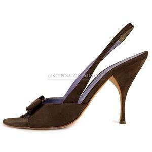 e0a0b79ea3b Miu Miu Shoes - MIU MIU Italy Classic Suede Bow Sling Back Sandal